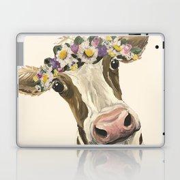 Cow Art, Flower Crown Cow Art Laptop & iPad Skin