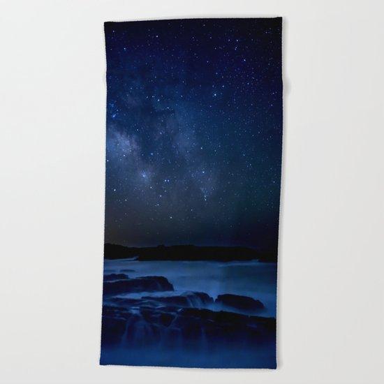 Dark Night California Coastal Waters Beach Towel