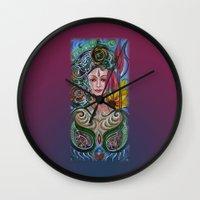 chakra Wall Clocks featuring Chakra Mandla by Harsh Malik