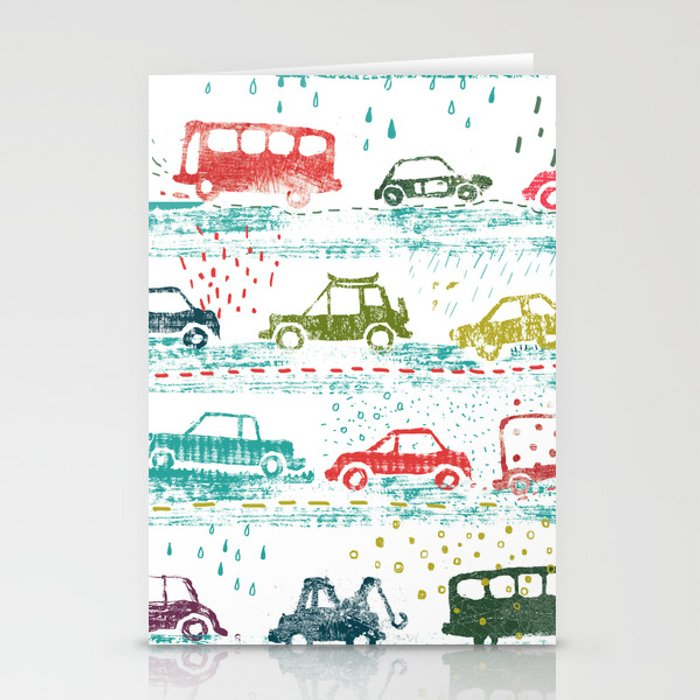cars in the rain Stationery Cards