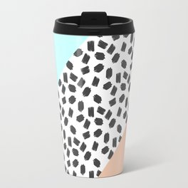 Mint & Orange Color Blocks & Black Brushstrokes Travel Mug