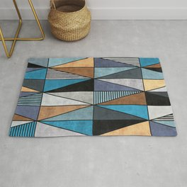 Colorful Concrete Triangles - Blue, Grey, Brown Rug