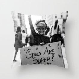 Girls Are Super! Throw Pillow