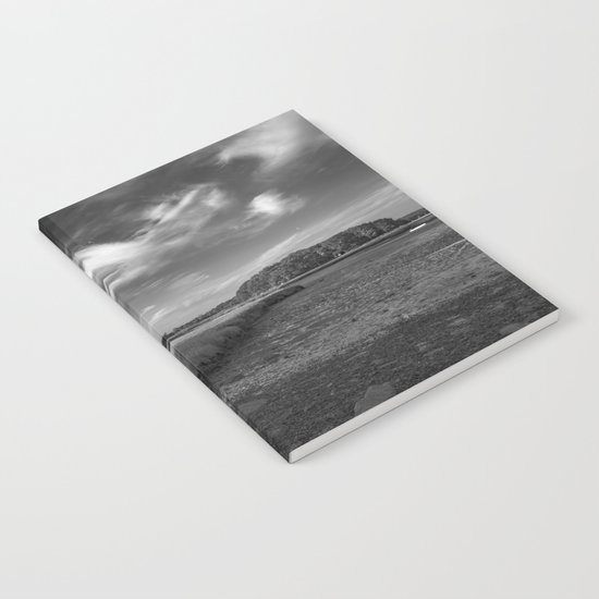 Sky and Marsh Black and white Notebook