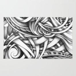 Escher Like Abstract Hand Drawn Graphite Gray Depth Rug