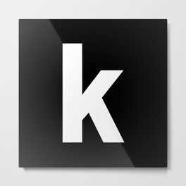letter K (White & Black) Metal Print