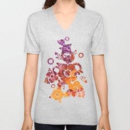 Decorative background, spotty abstraction, orange-violet Unisex V-Neck