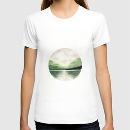 Foggy Mountain Lake Watercolor Landscape | Minimalism Painting | Round Painting T-shirt