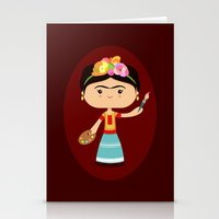 frida kahlo Stationery Cards featuring Frida Kahlo by Sombras Blancas Art & Design