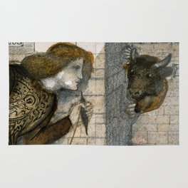 "Edward Burne-Jones ""Theseus and the Minotaur in the Labyrinth"" Rug"