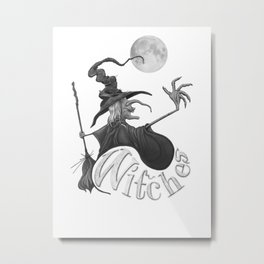 Black and White Witch Metal Print