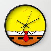 spongebob Wall Clocks featuring Spongebob  by Andrian Kembara