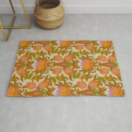 Orange, Pink Flowers and Green Leaves 1960s Retro Vintage Pattern Rug