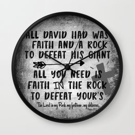 The Lord is my Rock Quote with Scripture Wall Clock