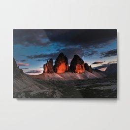 Tre Cime di Lavaredo; Italian Sexten Dolomites--Sunset Metal Print