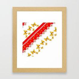 RED MODERN ART YELLOW BUTTERFLIES & WHITE DAISIES Framed Art Print