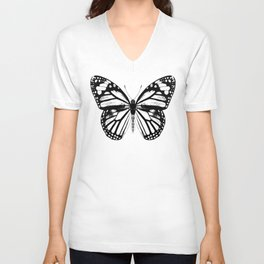 Monarch Butterfly | Black and White Unisex V-Neck