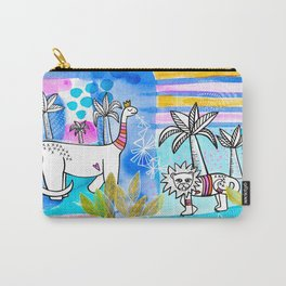 Unlikely Friends Painting - Lion Dinosaur Palm Trees Carry-All Pouch