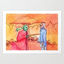 fiery duel Art Print
