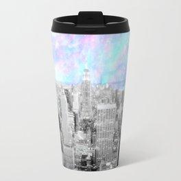 New York City. Pink Lavender Periwinkle Aqua Skies Travel Mug
