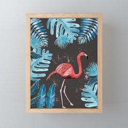 Flamingo with tropical foliage and a dark gray background Framed Mini Art Print