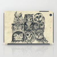 owls iPad Cases featuring Nine Owls by Rachel Caldwell