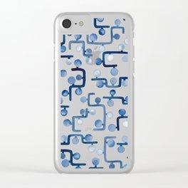 Blue Watercolour Zig Zag Clear iPhone Case
