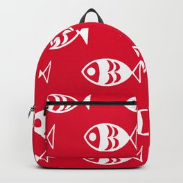 Fish red background Backpack