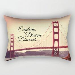 """""""Explore. Dream. Discover."""" - Travel Quote - Golden Gate Bridge Rectangular Pillow"""