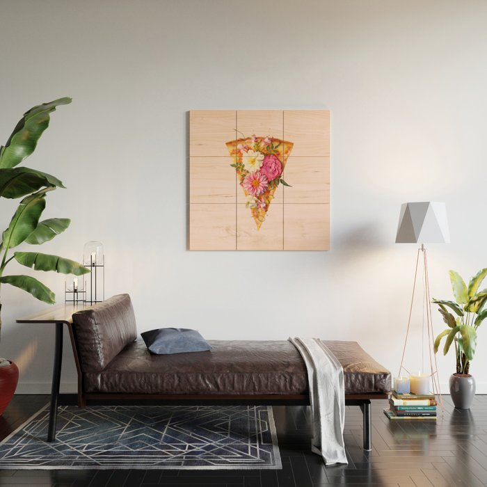 FLORAL PIZZA Wood Wall Art