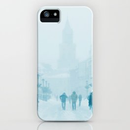 Foggy and snowy day iPhone Case