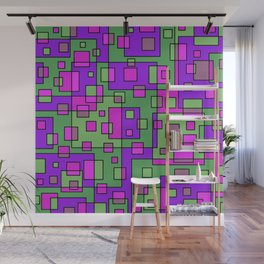 Purple Green Abstract Square Wall Mural