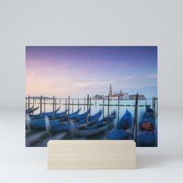 Venice at sunrise, San Giorgio and gondolas. Italy. Mini Art Print