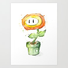 Fireflower Mario Watercolor Art Print