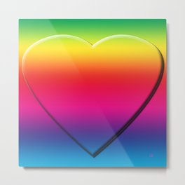 One Heart Rainbow Metal Print