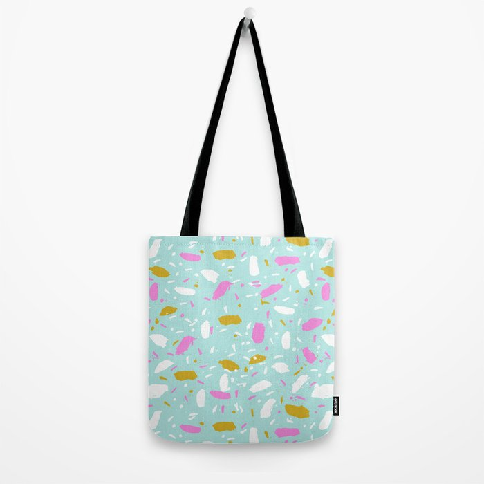 Terrazo mint pastel pink cute trendy modern abstract art painting painterly boho dorm college  Tote Bag