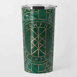 Web of Wyrd - Malachite, Leather and Golden texture Travel Mug