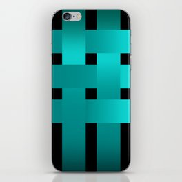 Abstraction .Weave turquoise satin ribbons . Patchwork . iPhone Skin