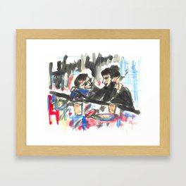 Les amoureux au bar.  Framed Art Print
