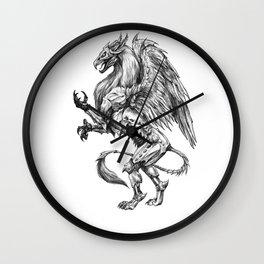 Dark Side Heraldic Griffin | Pencil Art Wall Clock