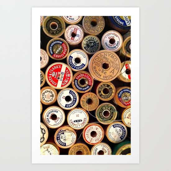 Vintage Sewing Thread Spools Art Print