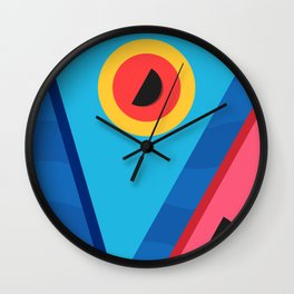 Summer Abstract Art Composition Blue and Pink Wall Clock