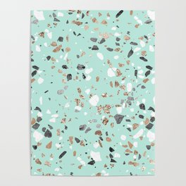 Glitter and Grit Marble Mint Green Poster