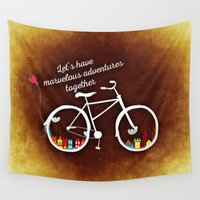 cycling Wall Tapestries featuring Let's Have Adventures (Cycling) by Limitless Design