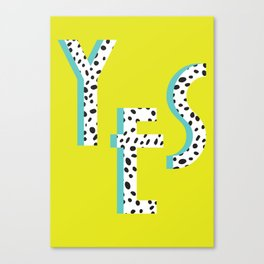 YES Poster | Lime Dalmatian Pattern Canvas Print