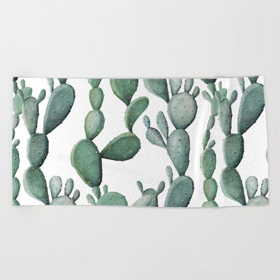 Cactus Bunch Green Beach Towel