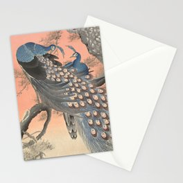 Two peacocks on tree branch, Ohara Koson Stationery Cards