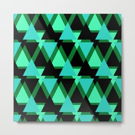 Abstract pattern . The green triangles . Metal Print