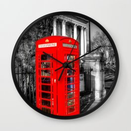 London Red Telephone Box Wall Clock