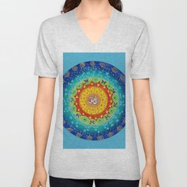 Cosmic Mandala Teal Unisex V-Neck